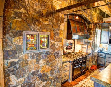 kitchen rock wall