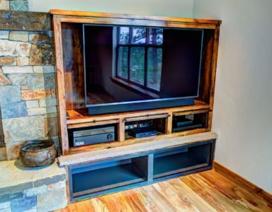 Built-in entertainment center.