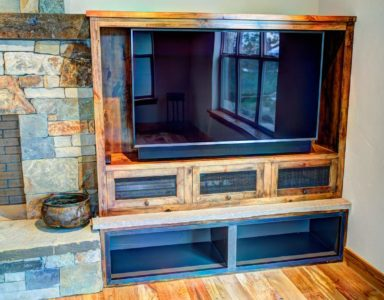 Built-in entertainment center. Alder wood.